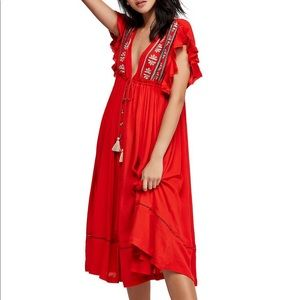 Free people red maxi dress